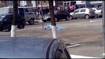 Body of victim after hunting shop shooting in Belgorod Russia