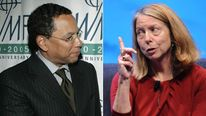 Dean Baquet, executive editor of the New York Times, and his predecessor Jill Abramson (right)