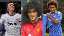 Mesut Ozil, Marouane Fellaini and Willian
