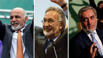 Leading candidates Ashraf Ghani, Zalmai Rassoul and Abdullah Abdullah