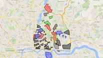 A Google Map of East London gang territories.