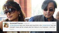Sunanda and Shashi Tharoor and one of the tweets sent from her account