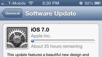 A iPhone screen shows 35 hours left to download