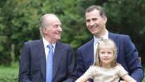 Spain's King Juan Carlos, Crown Prince Felipe and his daughter Leonor