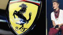 Justin Bieber drives a Ferrari sports car