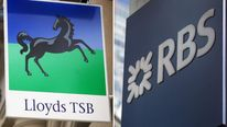 Signs outside Lloyds TSB and RBS branches