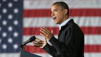 Barack Obama in Hilliard, Ohio.