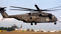 (File Pic) A US Navy MH-53E Sea Dragon helicopter lands at Tainan air force base in southern Taiwan