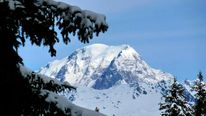 A general view shows the Mont-Blanc from Peisey Vallandry skiing resort  in the French Alps