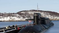 A view shows Russia's nuclear-powered submarine Yekaterinburg at a Russian navy base in Murmansk region