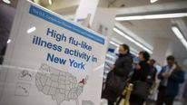 Sign advertises flu outbreak in New York