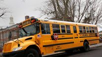 A New York City school bus in the Queens borough of New York