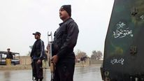Policemen at a checkpoint in Dera Ismail Khan