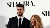 "Colombian singer Shakira and FC Barcelona's soccer player Gerard Pique pose during a photocall presenting her new album ""Shakira"" in Barcelona."