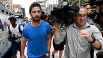 Actor Shia LaBeouf leaves a Midtown Manhattan court in New York City