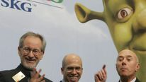 DreamWorks founders David Geffen (R), Jeffrey Katzenberg (C), and director Steven Spielberg (L)