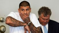New England Patriots tight end Aaron Hernandez is arraigned in court in Attleborough, Massachusetts
