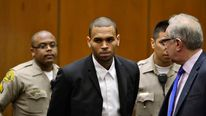 Singer Chris Brown and his attorney attend a probation progress hearing in Los Angeles Superior Court