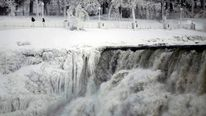 Waterfalls at Niagara Falls were frozen by the polar vortex as it gripped North America