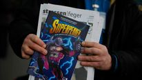 "The ""Superhobo"" comic which is on sale in Berlin."
