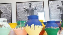 "Chinese artist Ai Weiwei's ""Colored Vases"" are shown at the Perez Art Museum Miami"