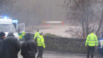 Bus stuck in floodwater