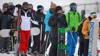 Skiers and snowboarders in Glenshee, Scotland