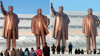 Combo photo of bronze statues of North Korea founder Kim Il-sung and late leader Kim Jong-il at Mansudae in Pyongyang