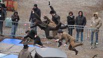 Stuntmen train on the set of Sherlock Holmes 2