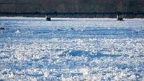 Ice flows jam the Delaware River in Trenton