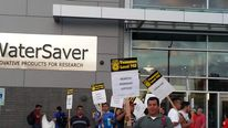 Union rally outside WaterSaver on July 9, 2014