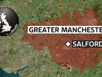 A map showing the location of Salford, Greater Manchester