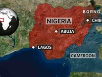 A map showing the location of Chibok, Abuja and Lagos in Nigeria