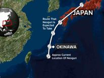 The approximate route that Super Typhoon Neoguri is expected to take
