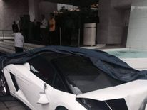 A white Lamborghini Gallardo that was crashed by a valet at Le Meridien hotel in Delhi, India. Pic: Big Boy Toyz