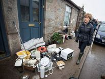First Minister Nicola Sturgeon during a visit to flood hit Port Elphinstone