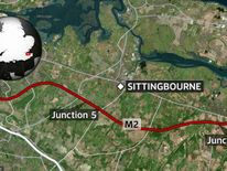 The M2 has been closed by a 15ft-sinkhole.