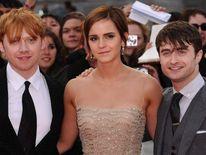 (L-R) Rupert Grint, Emma Watson and Daniel Radcliffe