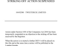The Companies House suspension notice for TweetDeck Ltd