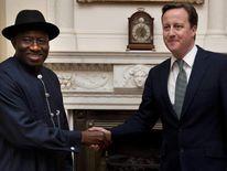 080312 NIGERIA HOSTAGE DAVID CAMERON MEETS NIGERIAN PRESIDENT GOODLUCK JONATHAN