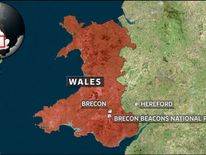 A map showing the location of the Brecon Beacons