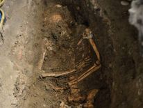 A view of the third excavation of a grave inside the medieval Convent of Saint Ursula in Florence on July 17, 2012.