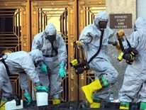 Hazardous materials experts on Capitol Hill during the 2001 anthrax scare
