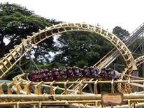 Corkscrew rollercoaster ride at Alton Towers