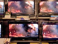Generic flat screen TVs televisions in US electronics shop