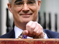 Chancellor Alistair Darling with his red Budget box