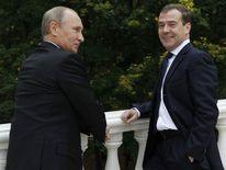 Putin (left) and Medvedev in Putin's residence
