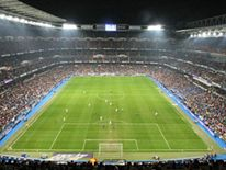 Aerial view of Real Madrid's Santiago Bernabeu stadium