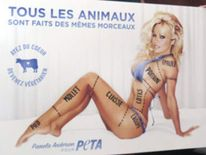 Pamela Anderson with Peta advert