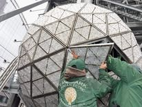 Workers Install 288 New Waterford Crystals On The 2013 Times Square New Year's Eve Ball